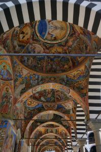 Vibrant frescoes at the Rila Monastery